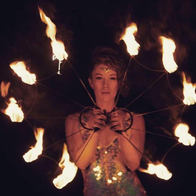 April Fire-Moon Stilt Walker